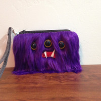 Purple Monster Coin Purse/Wristlet- Three Yellow Eyes