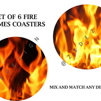 "Fire Coasters, Set of 6 Coasters, Flames, Smoke, Housewarming Gift, Home decor, 3 1/2"", Large round Coasters, Coaster Set, Home Gift, Fire"