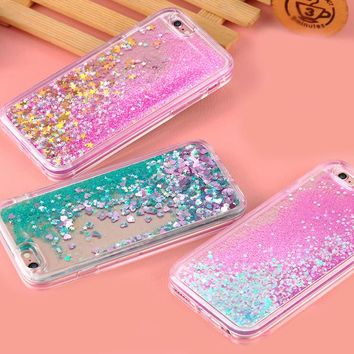 Glitter Star Flowing Water Liquid Case Clear For iPhone 5/5S/SE/X/6/7/8/6/6s