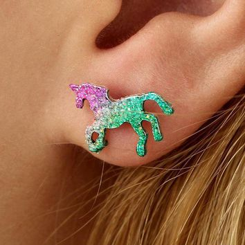 Beautyway Colorful Horse Stud Earrings For Women Cute Shining Animal Earring Unicorn Earrings Party Gifts Accessories 4491