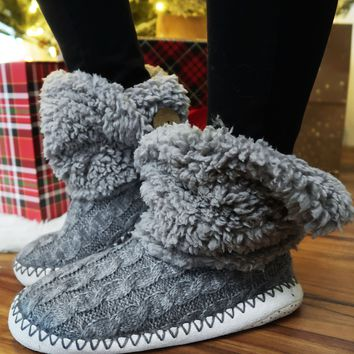 Night Before Christmas Slippers: Grey