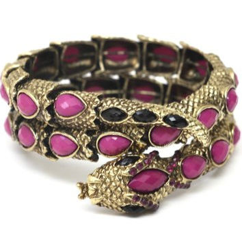 Coiled Serpent Cuff Gold Tone Purple Crystal Snake Bracelet BC14 Vintage Animal Statement Bangle