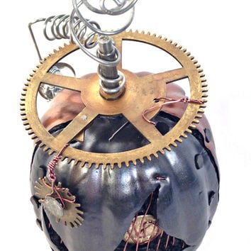 Steampunk Halloween Pumpkin With Large Cog/Gears