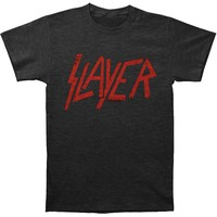 Slayer Men's  Distressed Logo Slim Fit T-shirt Charcoal