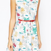 Yumi Belted Dress in Botanical Postcard Print