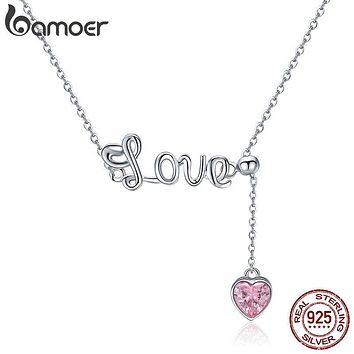 BAMOER Romantic 925 Sterling Silver Sweet Love Heart Pendant Necklaces for Valentine Gift Pink CZ Sterling Silver Jewelry SCN288