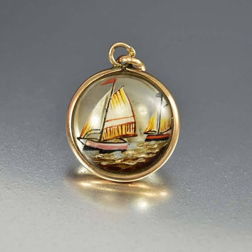 Antique Gold Sailboat Essex Crystal Pendant Fob Charm