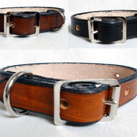 "Leather dog collars, 3/4"" wide, large, brown leather collar, black dog collar, tan leather collar, handmade"