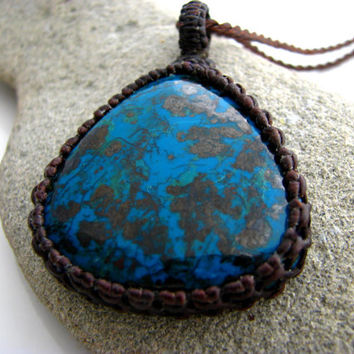 Azurite Necklace / Macrame / Azurite / Azure / blue / Metaphysical / Funky / necklace / Yoga / Healing / Gift/ Unique Gemstones