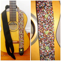 Hand Beaded Guitar Strap of Mandala Circles