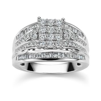 JewelMore 1ct 14k White Gold Square Cluster Ring (G-H/I1-I2) - White G-H