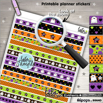 Printable Planner Stickers, Halloween Stickers, Erin Condren, Washi Tape, Kawaii Stickers, Instant Download, Planner Accessories, DIY