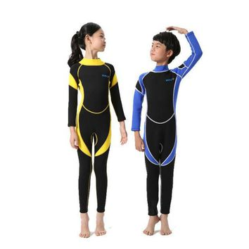 DCCKHG7 Neoprene Wetsuits Kids Long Sleeves Swimwear Boys Girls Diving Suits Surfing Children Rash Guards Snorkel One Pieces