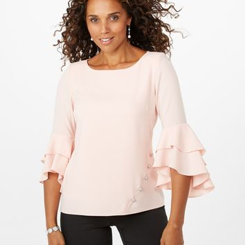Embellished Ruffle-Sleeve Top