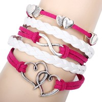 Ladies Hot Pink and White Handmade Braided Leather with Double Hearts and Infinity Charms
