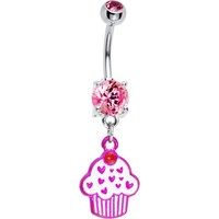 Pink Gem Sprinkles Cupcake Belly Ring