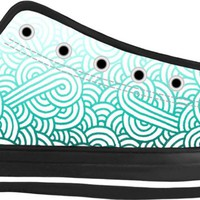 Gradient turquoise blue and white swirls doodles Black Low Tops