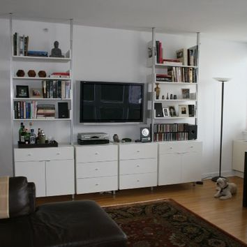 "102"" Wide Three Bay Wall Unit with 2 Base Cabinets and 1 Glass Door Cabinet"