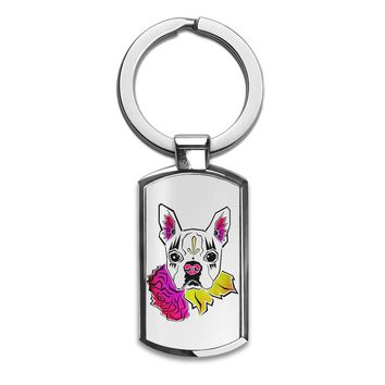 Sugar Skull Boston Terrier  Premium Stainless Steel Key Ring| Enjoy A Unique  & Personalized Key Hanger To Carry Your Keys W/ Style| Custom Quality Prints| Household Souvenirs By Styleart