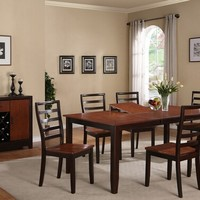 A.M.B. Furniture & Design :: Dining room furniture :: Small Dinette Sets :: Cherry finish sets :: 7 pc rich cherry and espresso finish wood dining table set with butterfly leaf