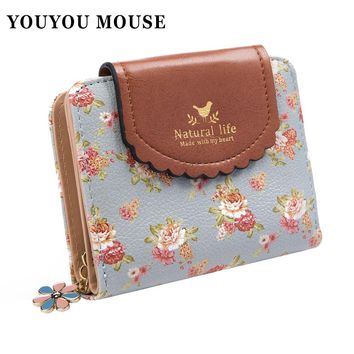 YOUYOU MOUSE Fashion Design Women Wallets Fresh Simple Retro Solid Floral Purse Ladies Wallet Clutches Coin Pocket Card Holder