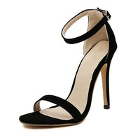 Women Sexy High Heels Female Ankle Strap Buckle Stiletto Open Toe Shoes Elegant Brand Solid Ladies Dress Pumps Black