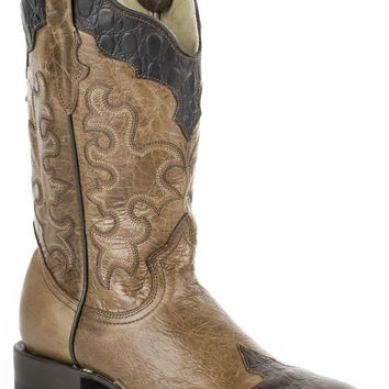 Roper Ladies Faux Exotic On Leather Sq Toe Boots Faux Brown Sea Turtle Wingtip Crown