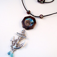 Abalone Nautical Big Anchor Necklace Mahogany Wood Geometric on Quality Black Leather Cord