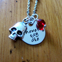 The Goonies movie Inspired Necklace. Never Say Die. Pirate, treasure. Hand stamped silver colored pendant with a Swarovski crystal & skull.