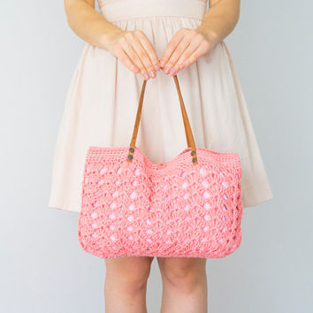 Pink Bag Coral Bag Peach Bag Summer Bag Women Bag Leather Bag Leather Tote Crochet Bag Pink Tote Handmade Tote Beach Bag Women Accessory