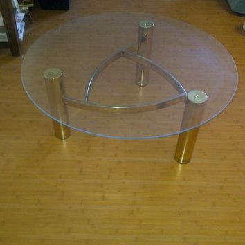 Vintage Brass Glass Hollywood Regency Coffee Table