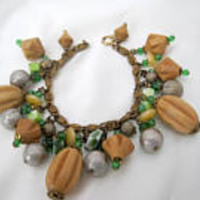 Chunky  Charm Bracelet - Wood Charms - Green Glass Beads