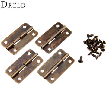 4Pcs Antique Bronze Cabinet Hinges for Caskets Furniture Accessories Drawer Hinges for Jewelry Boxes Furniture Fittings 30x17mm