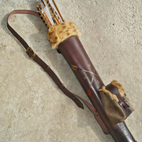 Tooled Archery Quiver with a Detachable Pouch