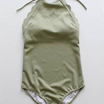 Light Green High Neck Halter Low Back Scallop Trim Scalloped Edges One-Piece Swimsuit