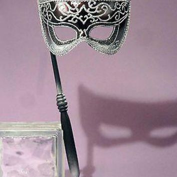 Adult Black And Silver Venetian Mask On A Stick