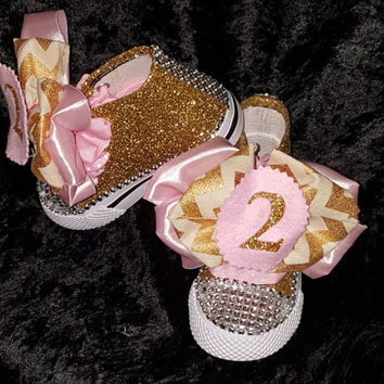 Pink And Gold Glitter Birthday Shoe (CONVERSE)