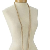 Flapper Necklaces-Champagne Single Strand Faux Pearl Necklace