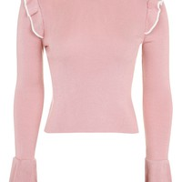 Tipped Frill Crop Knitted Top | Topshop