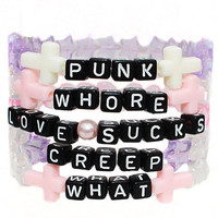Cheeky Black Letter Beaded Bracelets