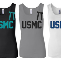 Marines Tank Top Shirt, Military Marine Wife, Fiance, Girlfriend, Workout Tank (women, teen girl)