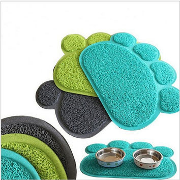Paw Shape Pets Feet Mat Placemat PVC Radiating Dog Cats Sleeping Feeding  Pads = 1929955844