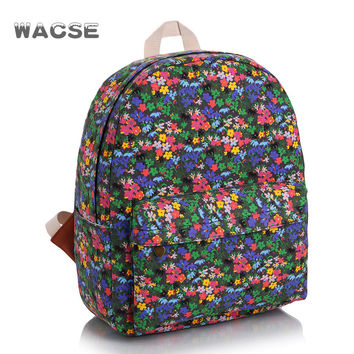 Canvas Fashion Casual Travel Pastoral Style Floral Stylish Backpack = 4887876292