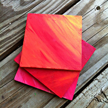 Hand painted Wooden Coasters, Pink, Red, Yellow, Orange Blends