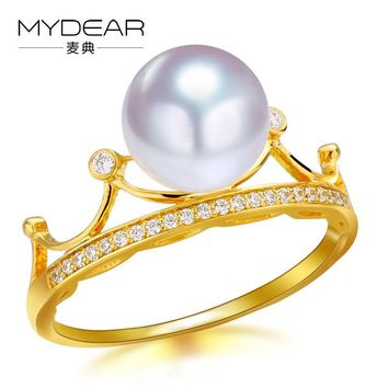 MYDEAR Real Pearl Jewelry Fashion Crown Shpe Gold Rings Genuine 8.5-9mm Akoya Pearl Rings Jewelry,White Round High Luster Pearls