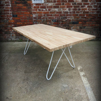 Modern Industrial Chic Solid OAK Hairpin Dining in White. Hand Made steel Custom Bespoke, Home Decor Conference Office Table Butchers 293