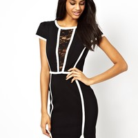Paper Dolls Panelled Pencil Dress with Lace Insert - Black