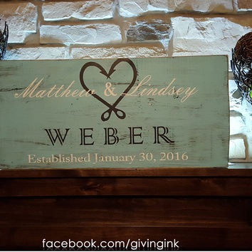 Rustic Personalized Wood Monogram Sign-Family Webber Style