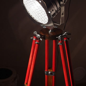TRIPOD Chrom&Red Wood - Industrial Modern Floor Tripod Lamp