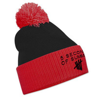 5SOS: Black and Red Embroidered Bobble Hat